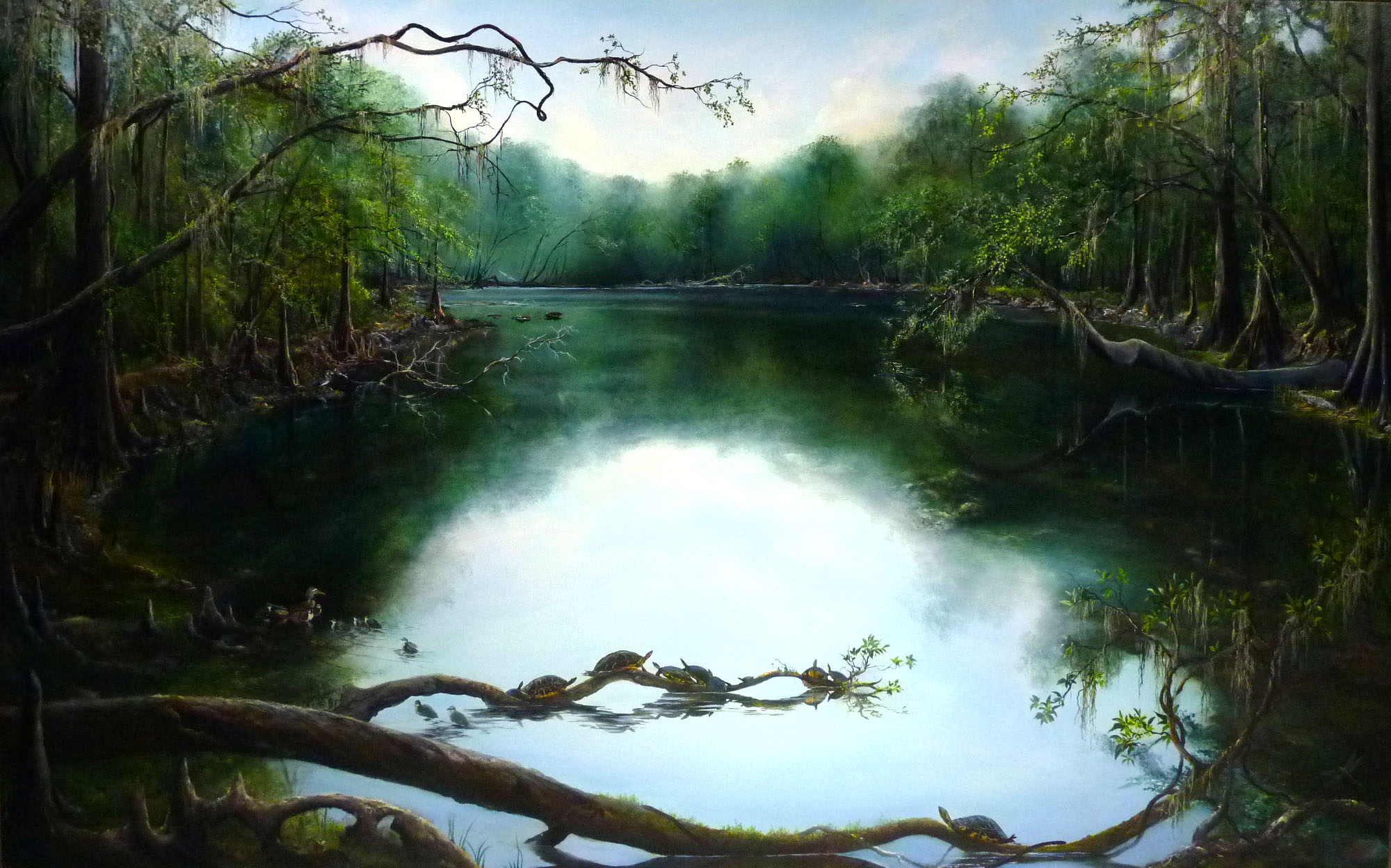 Oil Painting Of River Rise By John Sterpe Located At Santa