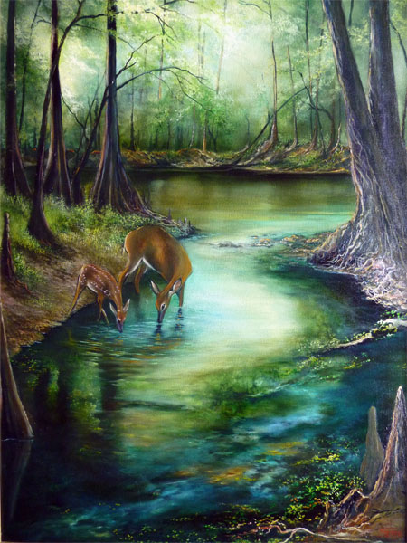 paintings of Rum island spring Florida, springs gallery ...